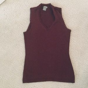 Ann Taylor Maroon Knit Vest